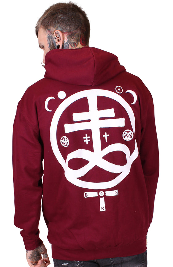 Men's Burgundy Zip Hoodie - Devil - Alternative Streetwear & Street Style from Bear Knuckle Brawlers