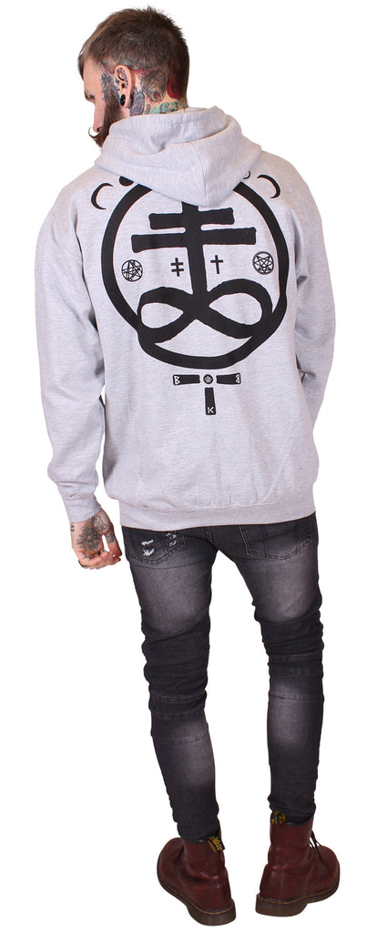 Men's Grey Zip Hoodie - Devil - Alternative Streetwear & Street Style from Bear Knuckle Brawlers
