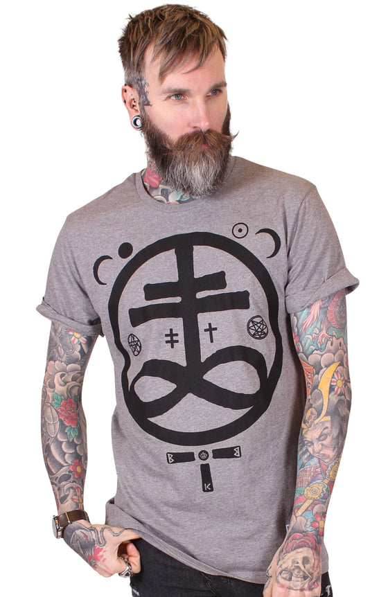 Men's Heather Grey T-Shirt - Devil - Alternative Streetwear & Street Style from Bear Knuckle Brawlers