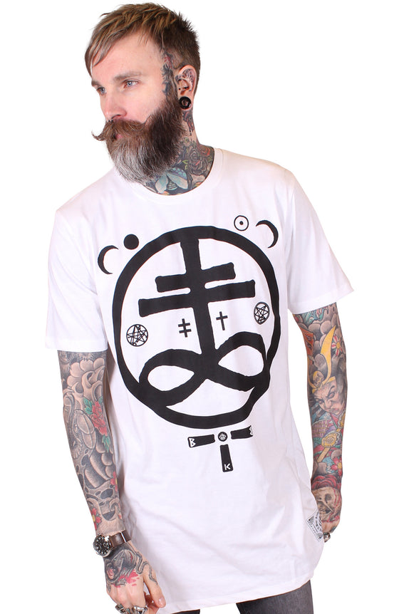 Men's White Longline Tee - Devil - Alternative Streetwear & Street Style from Bear Knuckle Brawlers