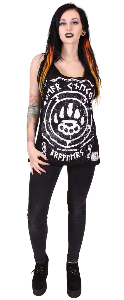 Women's Black Fashion Tunic Vest - Ruins - Alternative Streetwear & Street Style from Bear Knuckle Brawlers