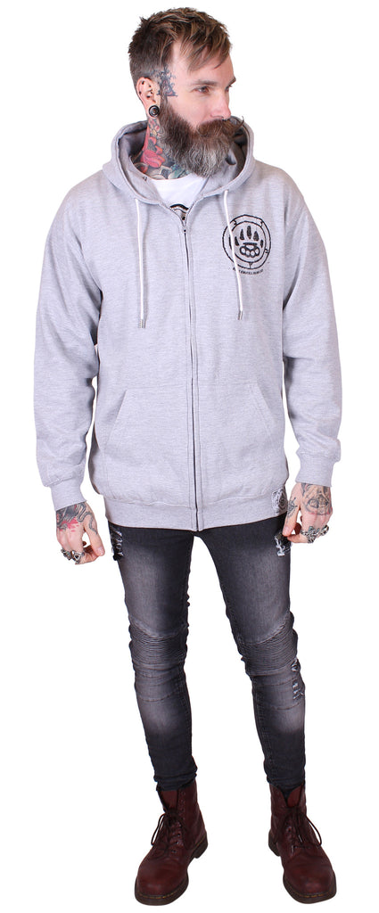 Men's Heather Grey Zip Hoodie - Ruins - Alternative Streetwear & Street Style from Bear Knuckle Brawlers