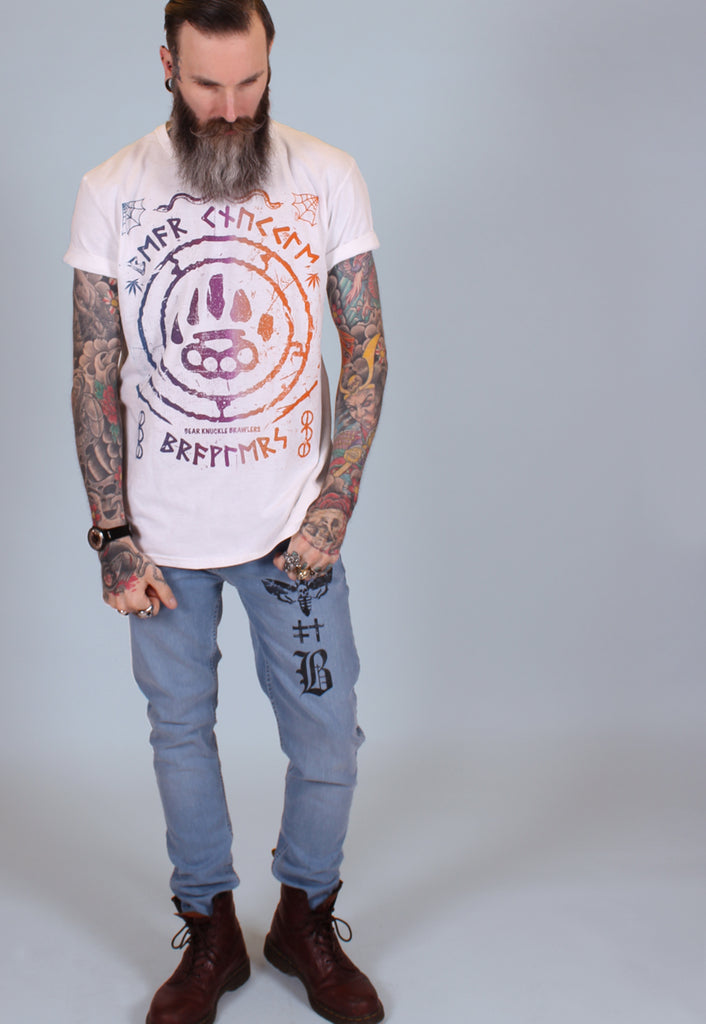 Ruins Gradient Long Line Tee - White - Alternative Streetwear & Street Style from Bear Knuckle Brawlers