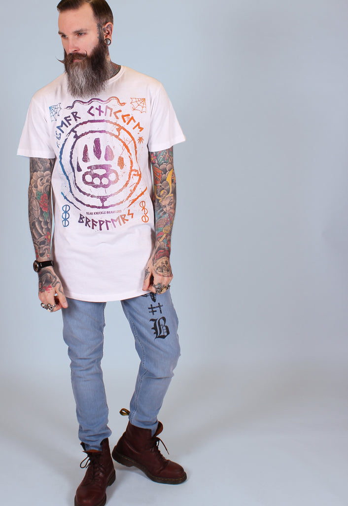 Ruins Gradient T Shirt - White - Alternative Streetwear & Street Style from Bear Knuckle Brawlers