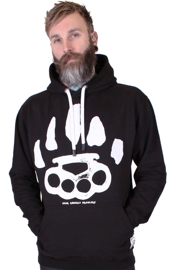 Men's Black Pullover Hoodie - Signature - Alternative Streetwear & Street Style from Bear Knuckle Brawlers