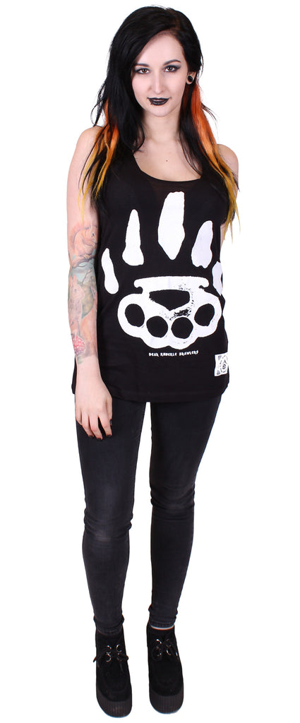 Women's Black Fashion Tunic Vest - Signature - Alternative Streetwear & Street Style from Bear Knuckle Brawlers