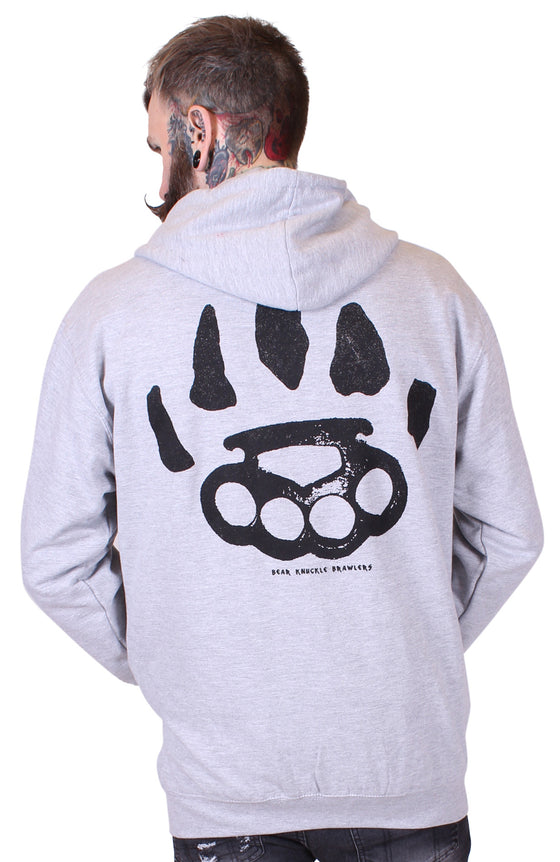 Men's Heather Grey Zip Hoodie - Signature - Alternative Streetwear & Street Style from Bear Knuckle Brawlers