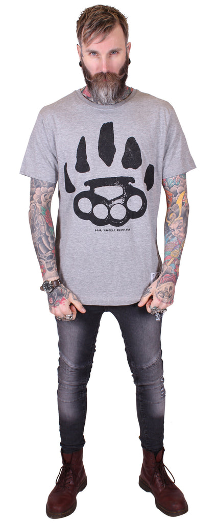 Men's Heather Grey T-Shirt - Signature - Alternative Streetwear & Street Style from Bear Knuckle Brawlers