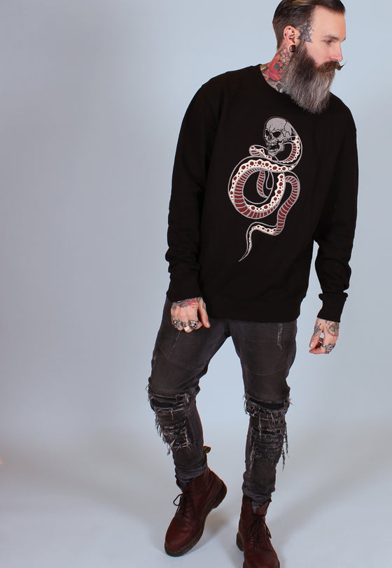 Snake Crewneck Sweatshirt - Black - Alternative Streetwear & Street Style from Bear Knuckle Brawlers