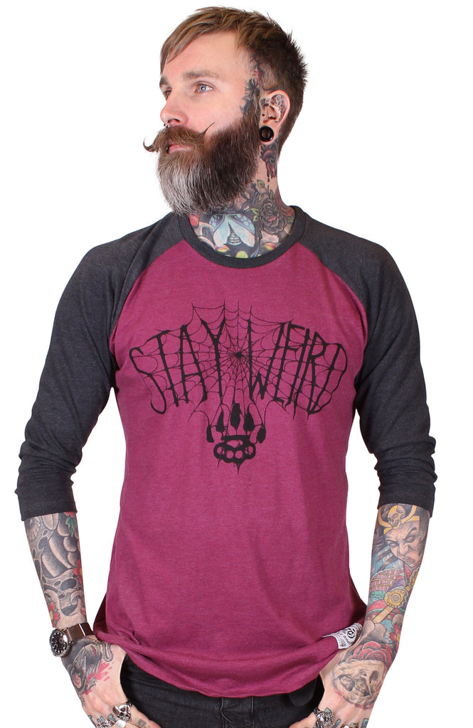 Men's Black & Plum ¾ Sleeve T-Shirt - Stay Weird - Alternative Streetwear & Street Style from Bear Knuckle Brawlers