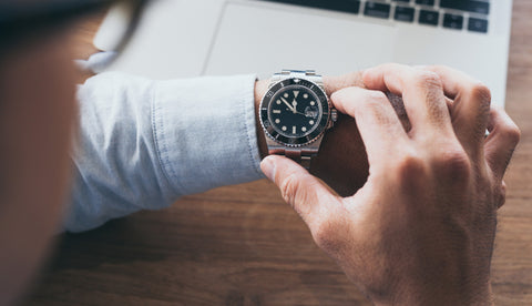 man with watch as accessory for business casual attire