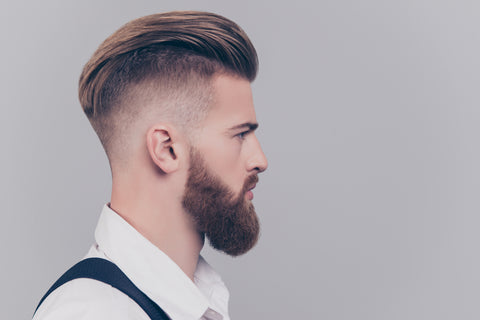 man with undercut and beard, with skin fade