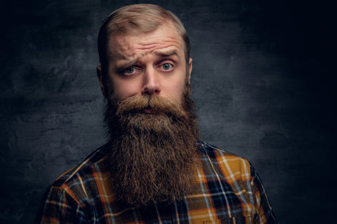 man with a long blonde beard looking at the camera