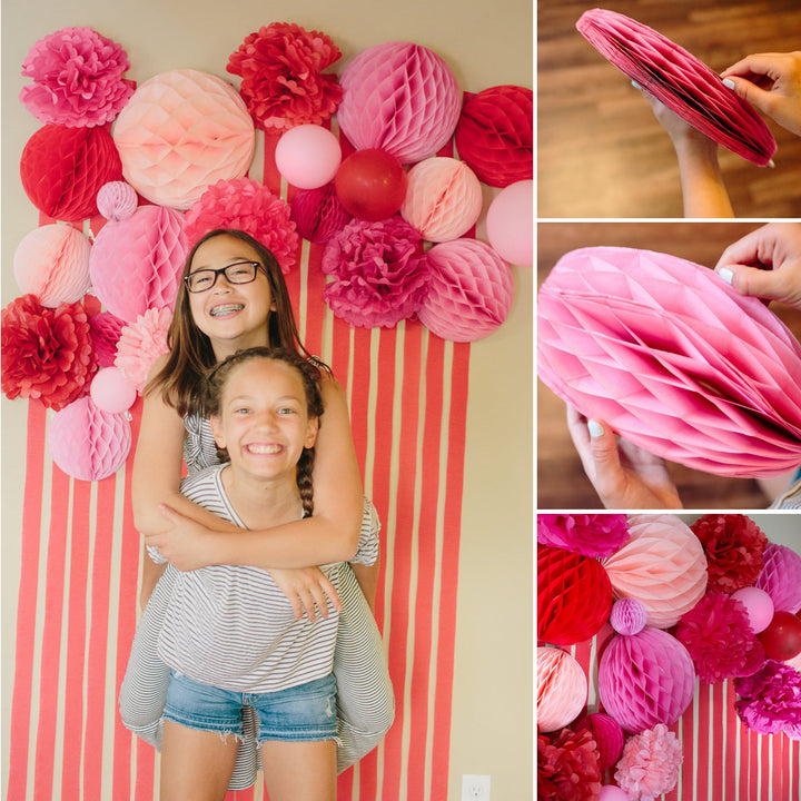 How to Make a Photo Backdrop with Streamers and Honeycombs
