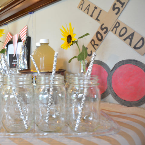railroad crossing train birthday party decor