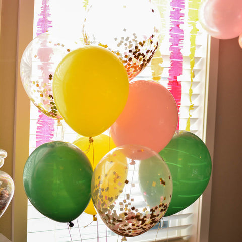 Confetti balloon bouquet with green yellow and pink