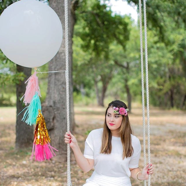 Balloon Tissue Tassel Tail Garland Kit in Pink, Mint and Metallic Gold Tassels