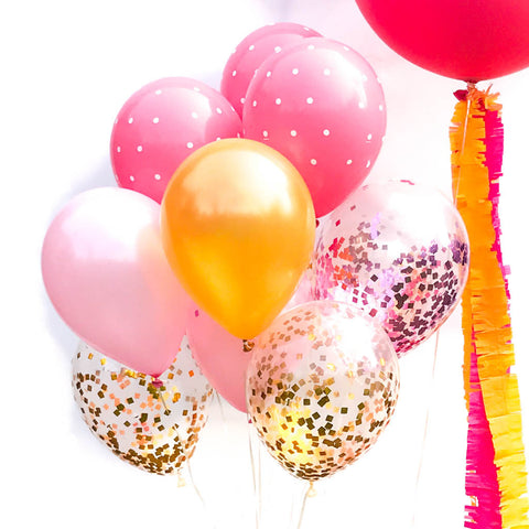 pink and gold balloon bouquet