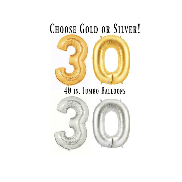 gold and silver 30 balloon