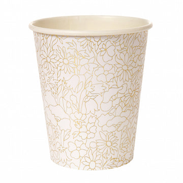 Gold floral paper cups