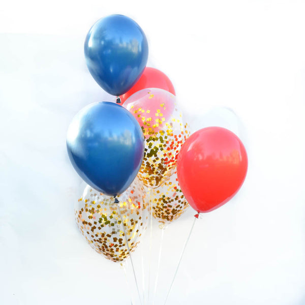 gold confetti balloons red white blue