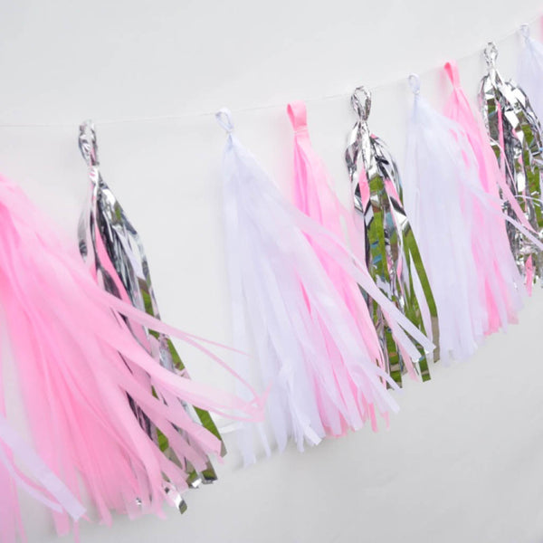 Bubblegum Pink and Silver Tissue Tassel Garland Kit