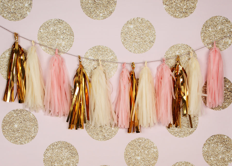 Vintage Blush Pink, Gold and Cream Tassel Garland Kit