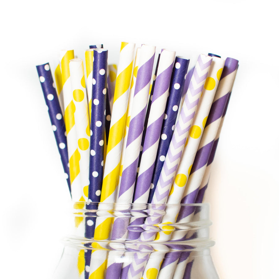 Princess Rapunzel Purple and Yellow Paper Straws
