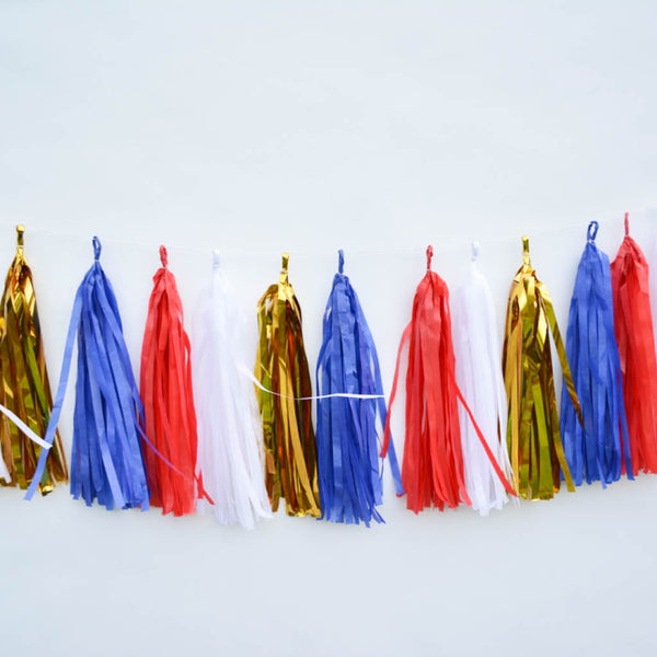 red white blue tassel garland