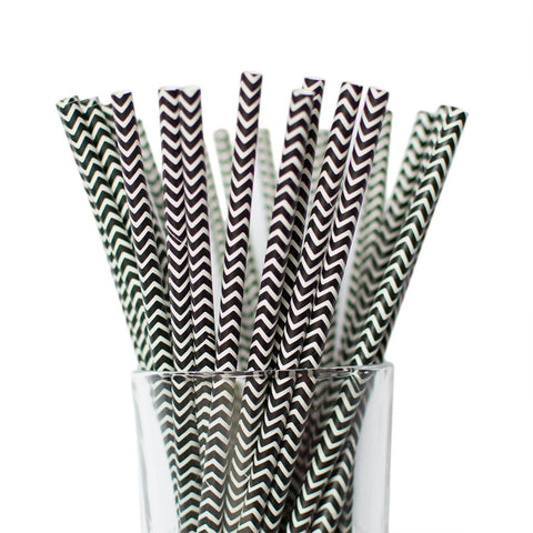 Black Chevron Straws