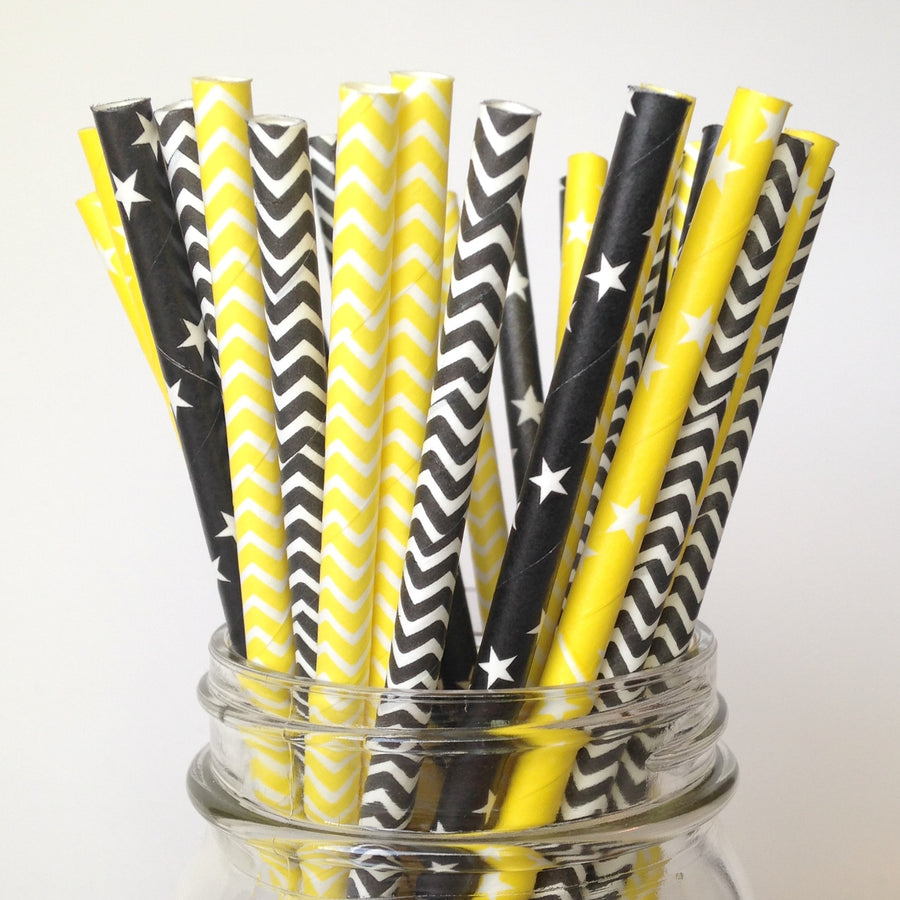 black and yellow straws