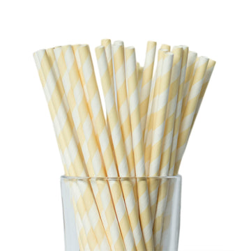 Ivory Striped Straws