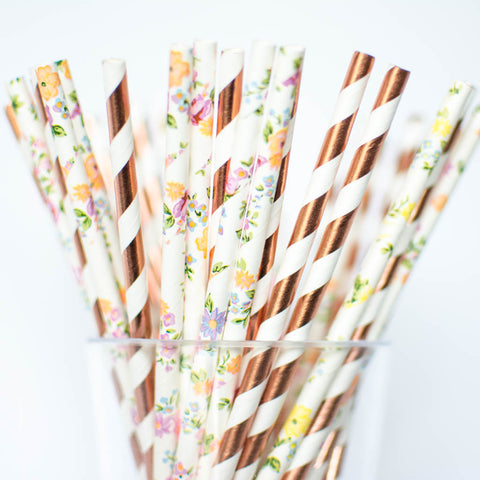 Floral and Rose Gold Paper Straws