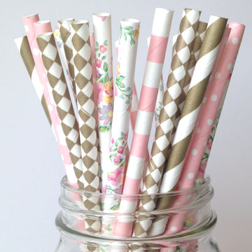 Pink and Floral paper straws