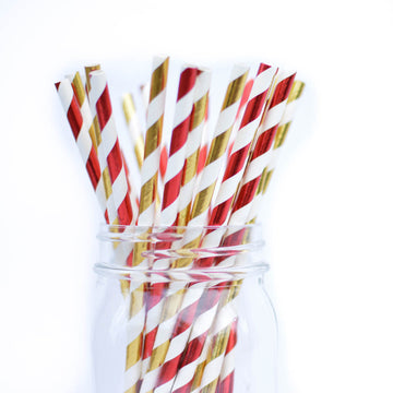 gold and red straws