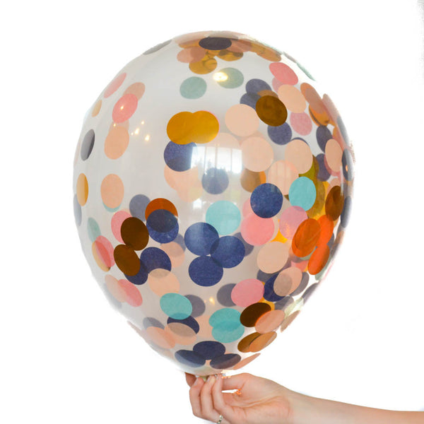 Gold Mint Navy Coral Confetti Balloon Set Of 6