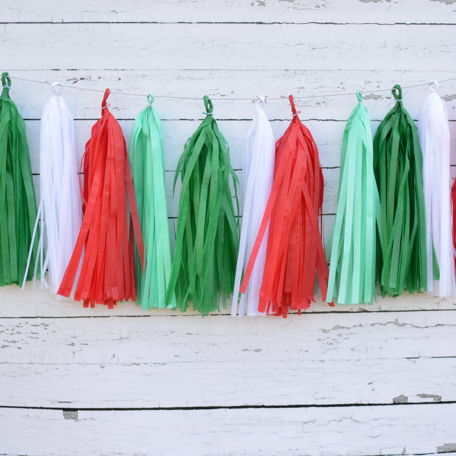 Christmas Tassel Garland, Jolly Red, Green, Mint and White