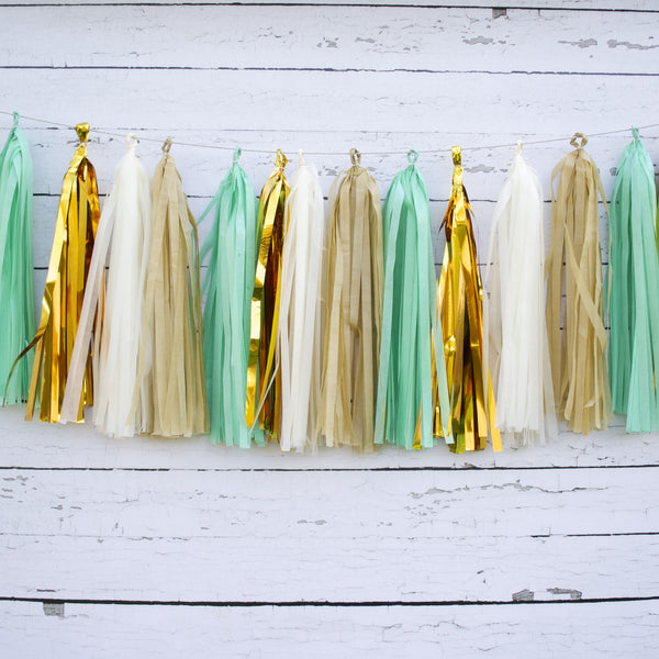 Mint and Burlap Tassel Garland