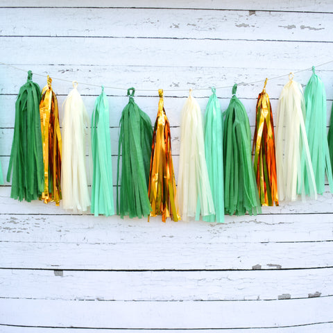 Emerald Green Christmas Tissue Garland