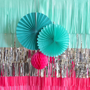 Tissue Tassel Photo Backdrop: Mint, Silver and Fuchsia Pink