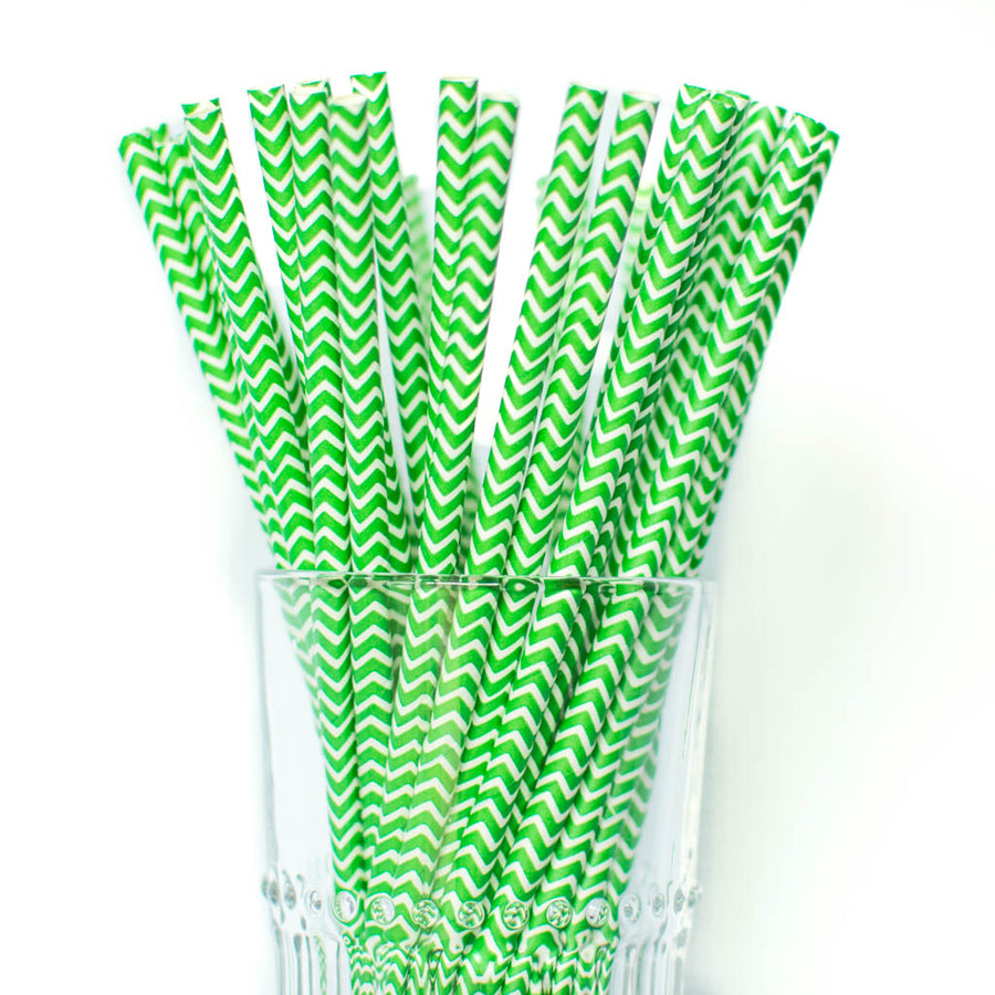 green chevron straws