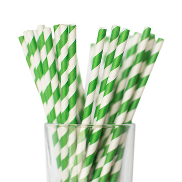 Dark Green Striped Straws