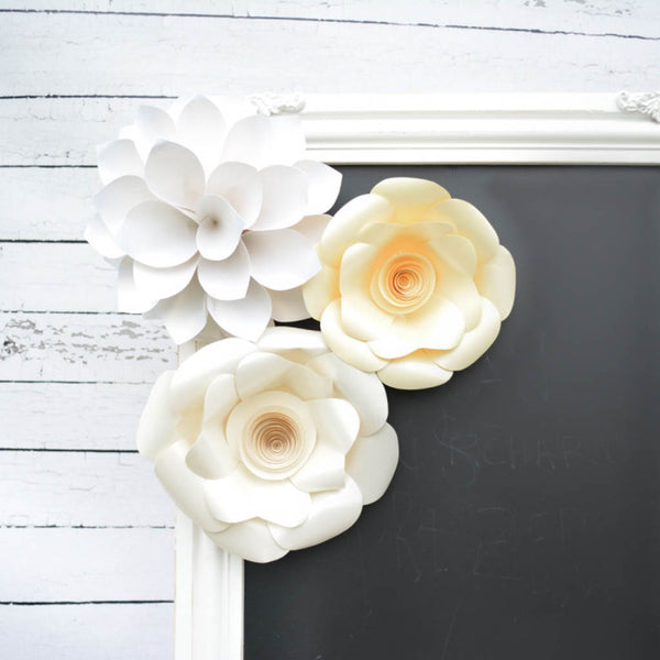 white paper flower set