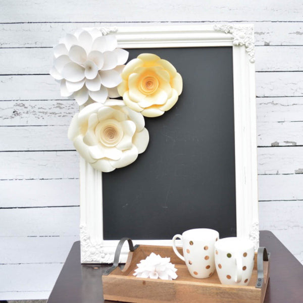 white paper flowers set
