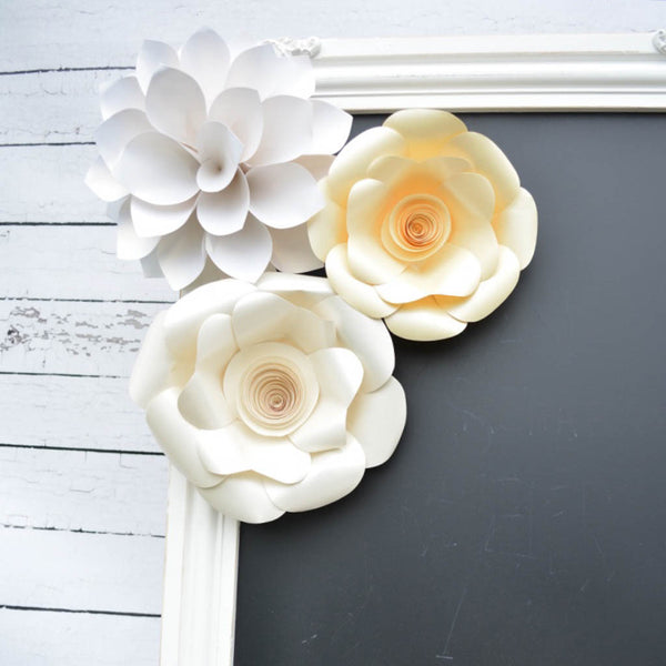white wedding flowers paper