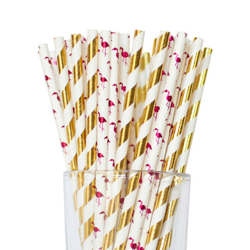 Metallic Gold Striped & Flamingo Straws