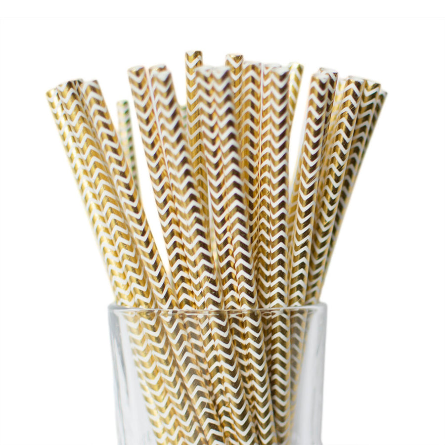 metallic gold pape straws