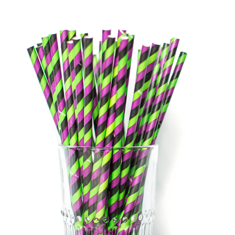 striped halloween straws