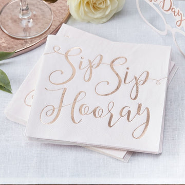 Sip Sip Hooray, Rose Gold Napkins