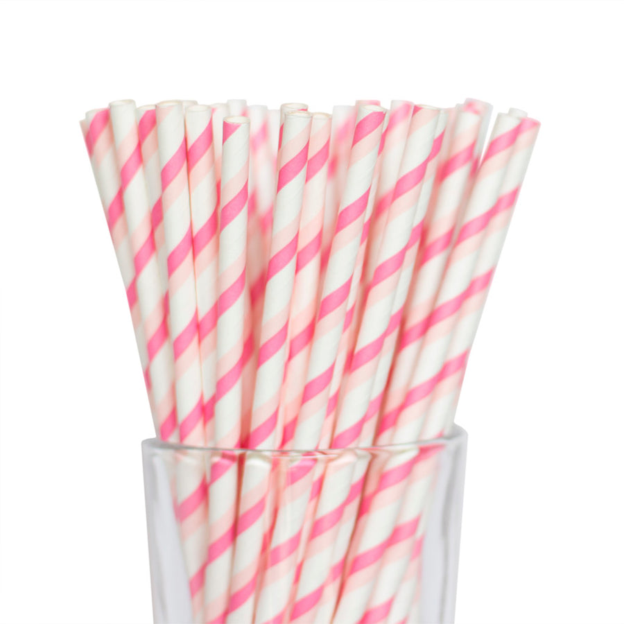 Double Pink Striped Straws